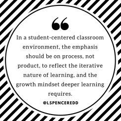 In a student-centered classroom environment, the emphasis should be on process, not product, to reflect the iterative nature of learning, and the growth mindset deeper learning requires.