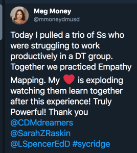 A Tweet from Meg Money about using empathy mapping with her students