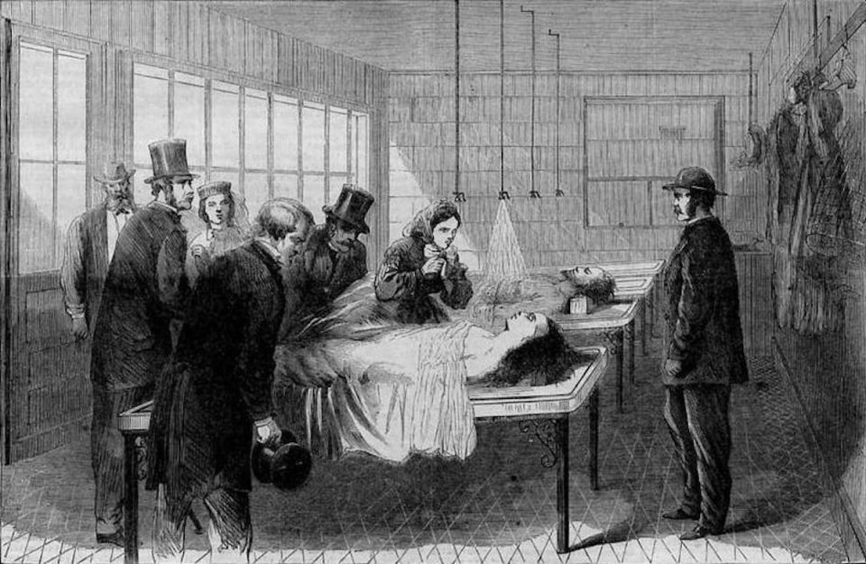 A drawing of a scene in a NY Morgue - men in suits and a woman looking at a body.
