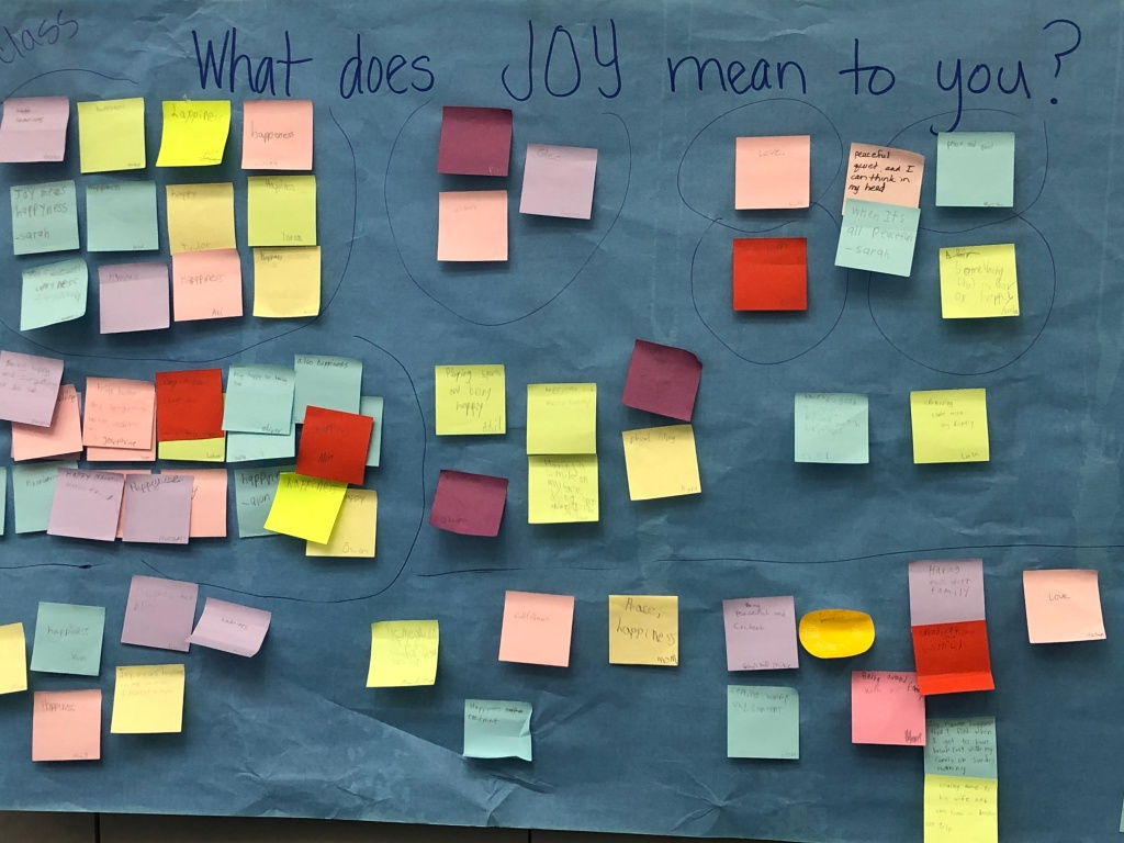 "Post-It Chart of ""What does Joy mean to you?"""