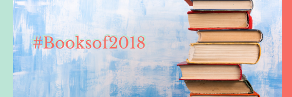 """Books stacked with the saying """"Booksof2018"""