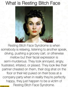 """A photo of a woman with a perceived scowl, with the headline """"What is Resting Bitch Face"""""""