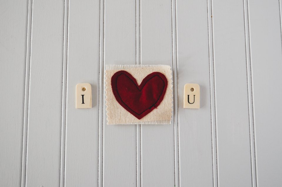 I heart you displayed as three images