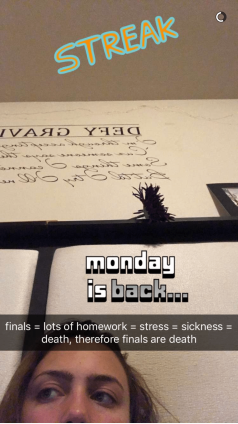 Finals = lots of homework = stress = sickness = death, therefore finals are death