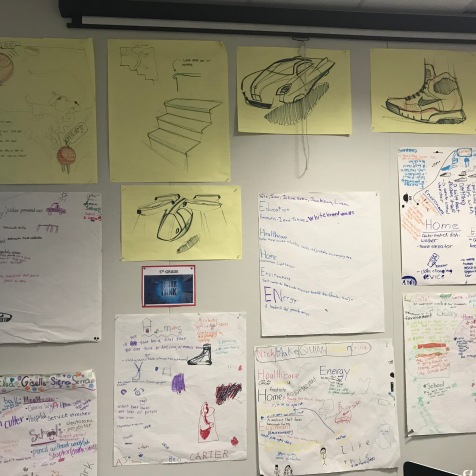 Ideation Wall: Inspirations from Michael diTullo, Industrial Designer frame the student concepts