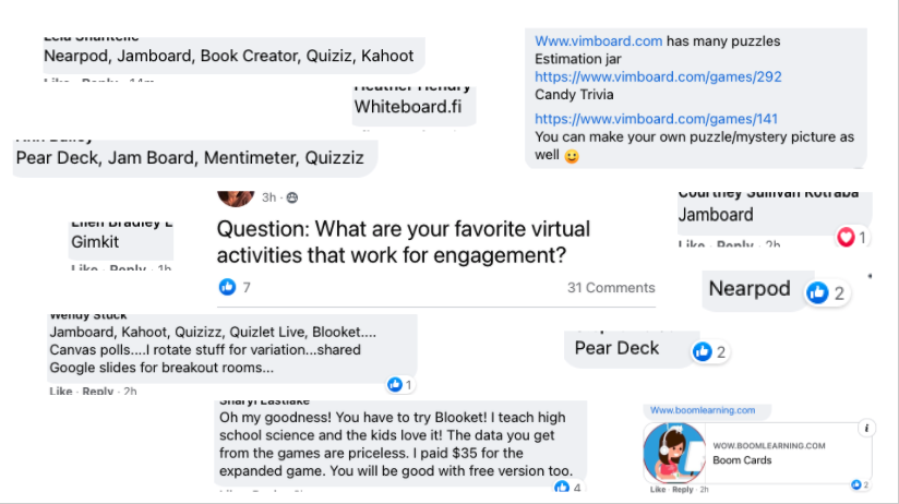 A slide with screenshots of Facebook comments, including: Nearpod, Jamboard, Book Creator, Quizizz, Kahoot, Whiteboard.fi, Mentimeter